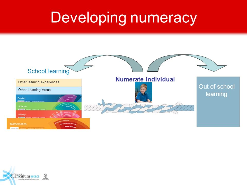 Developing numeracy School learning Numerate individual
