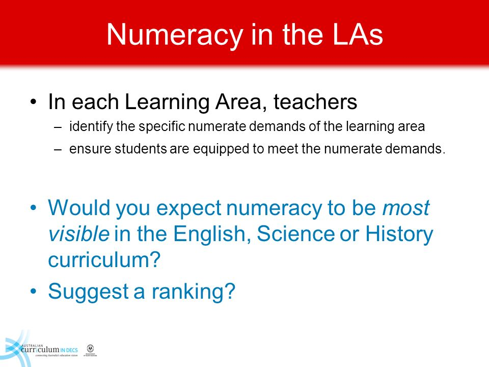 Numeracy in the LAs In each Learning Area, teachers