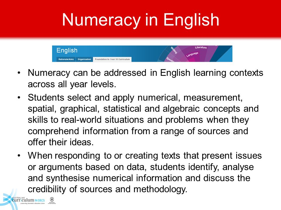 Numeracy in English Numeracy can be addressed in English learning contexts across all year levels.