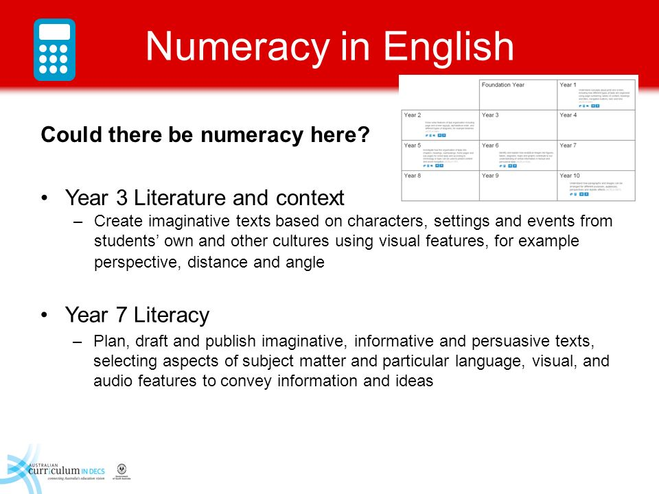 Numeracy in English Could there be numeracy here