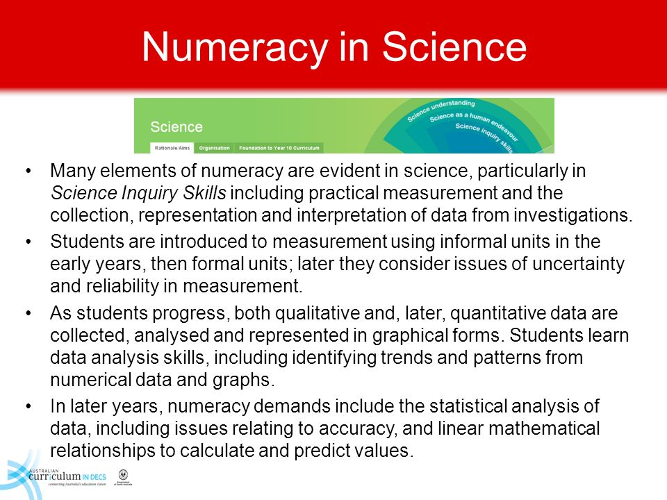 Numeracy in Science