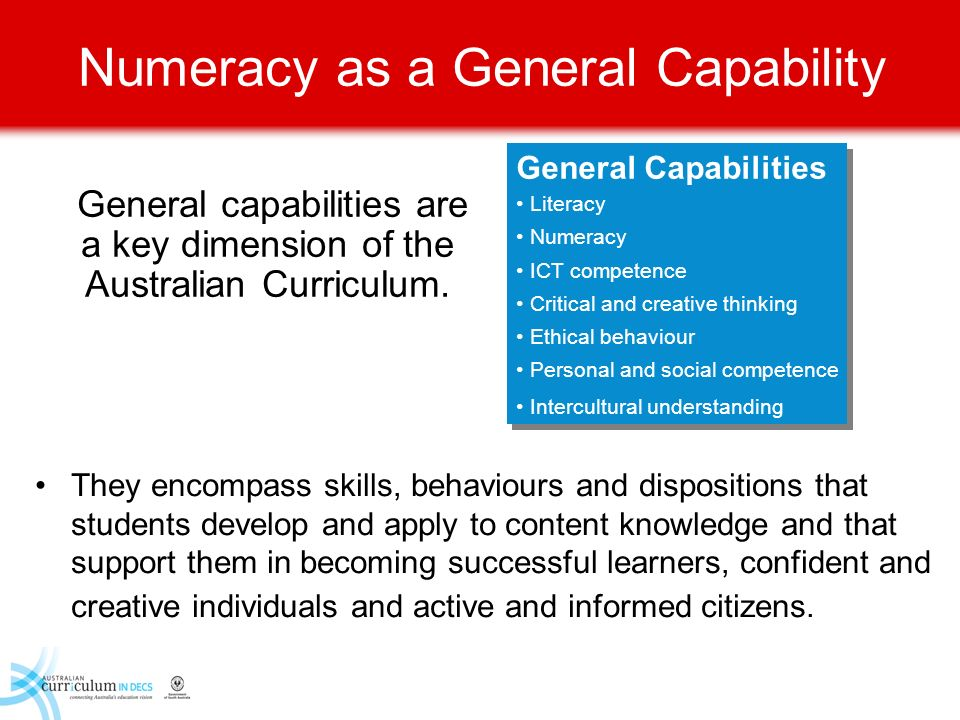 Numeracy as a General Capability