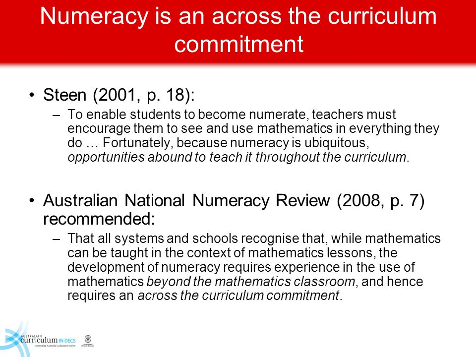 Numeracy is an across the curriculum commitment