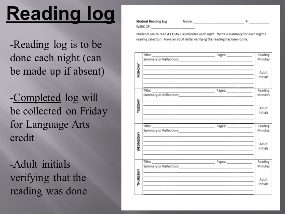Reading log -Reading log is to be done each night (can be made up if absent) -Completed log will be collected on Friday for Language Arts credit.