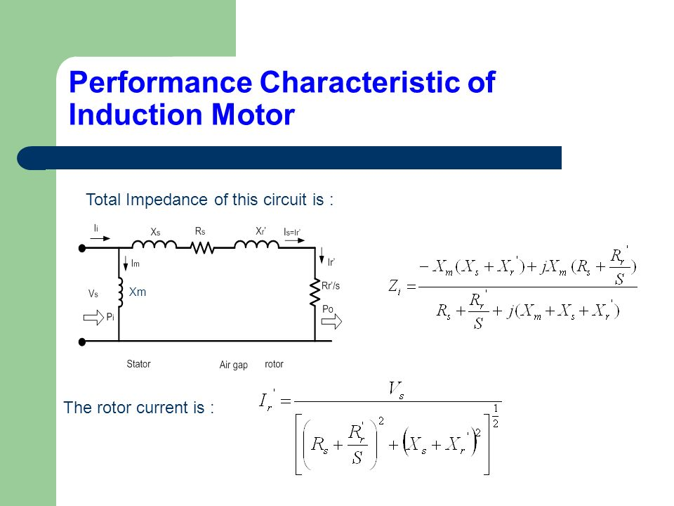 Three Phase Induction Motor Performance Characteristics