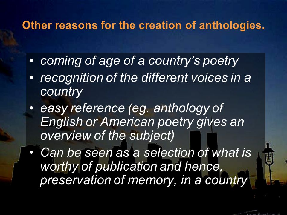 coming of age of a country's poetry