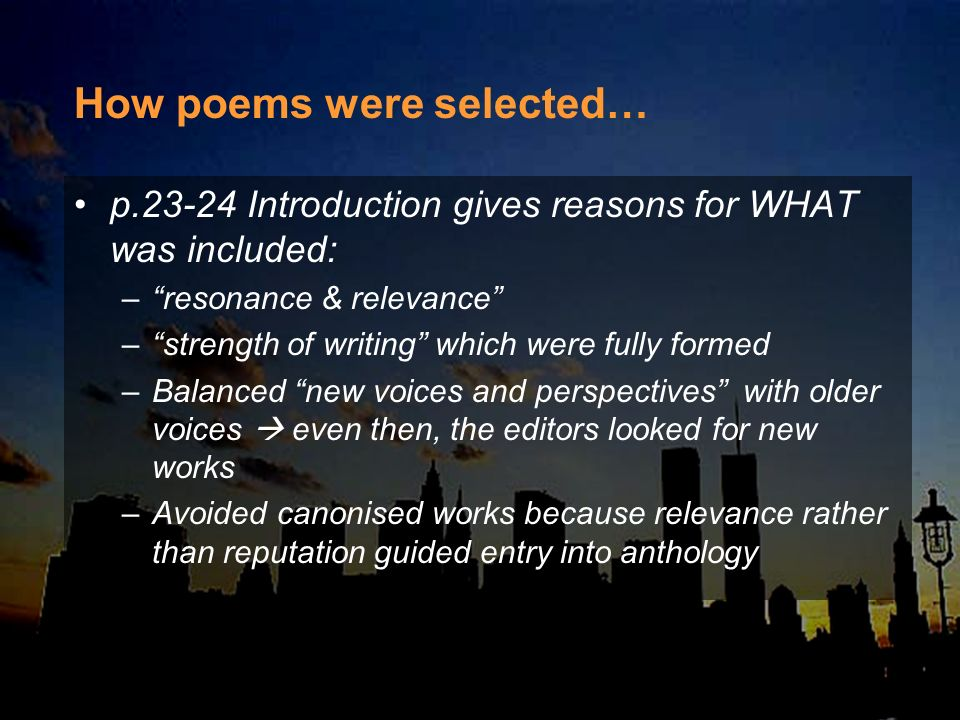 How poems were selected…