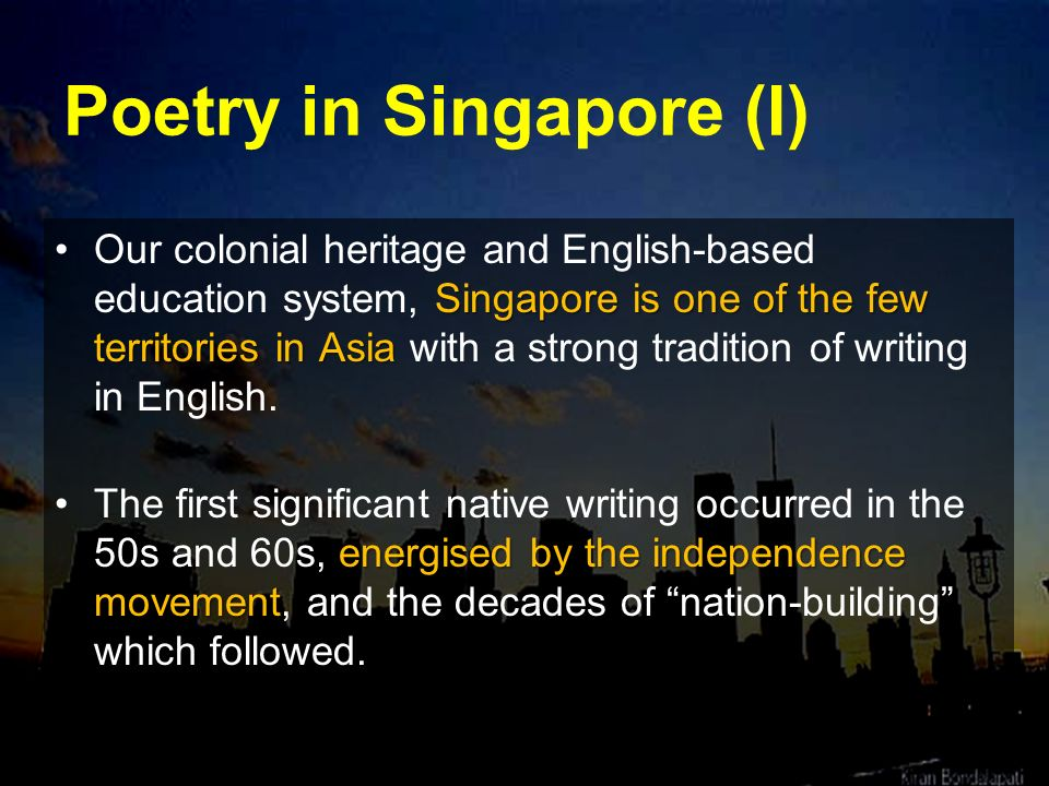 Poetry in Singapore (I)
