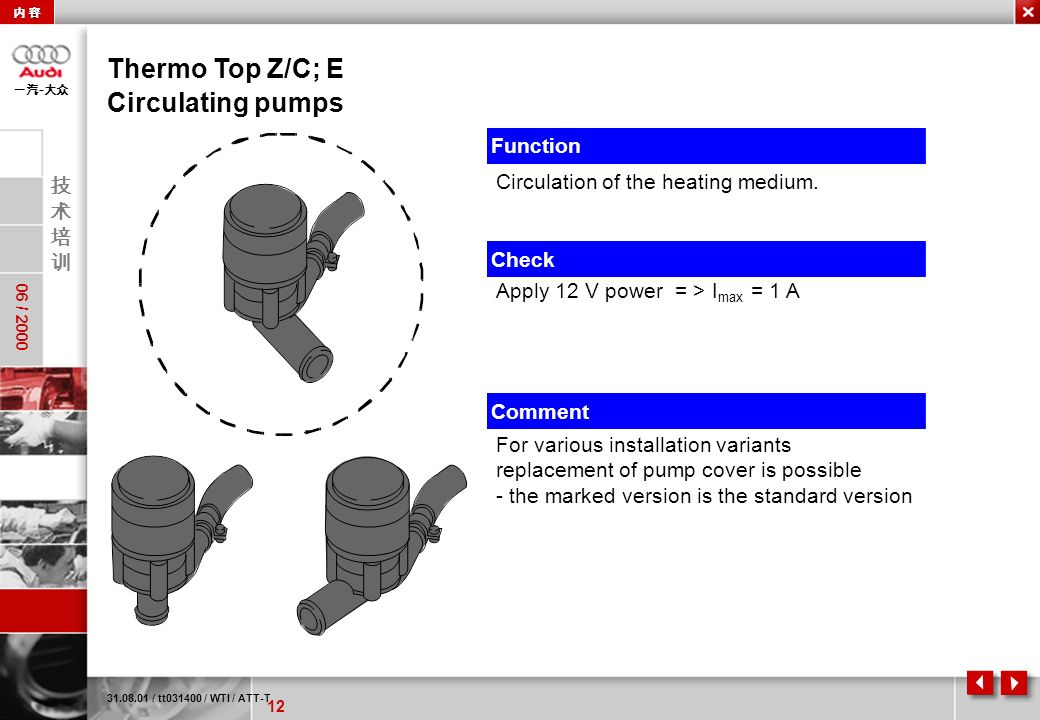 Thermo Top Z/C; E Circulating pumps Function