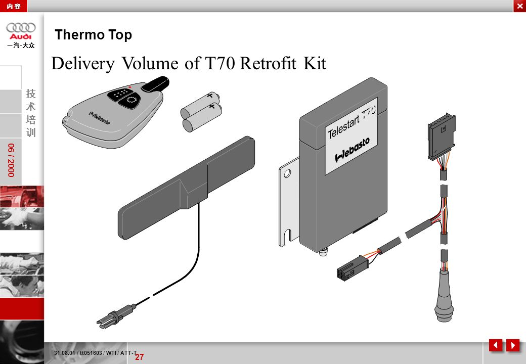 Delivery Volume of T70 Retrofit Kit
