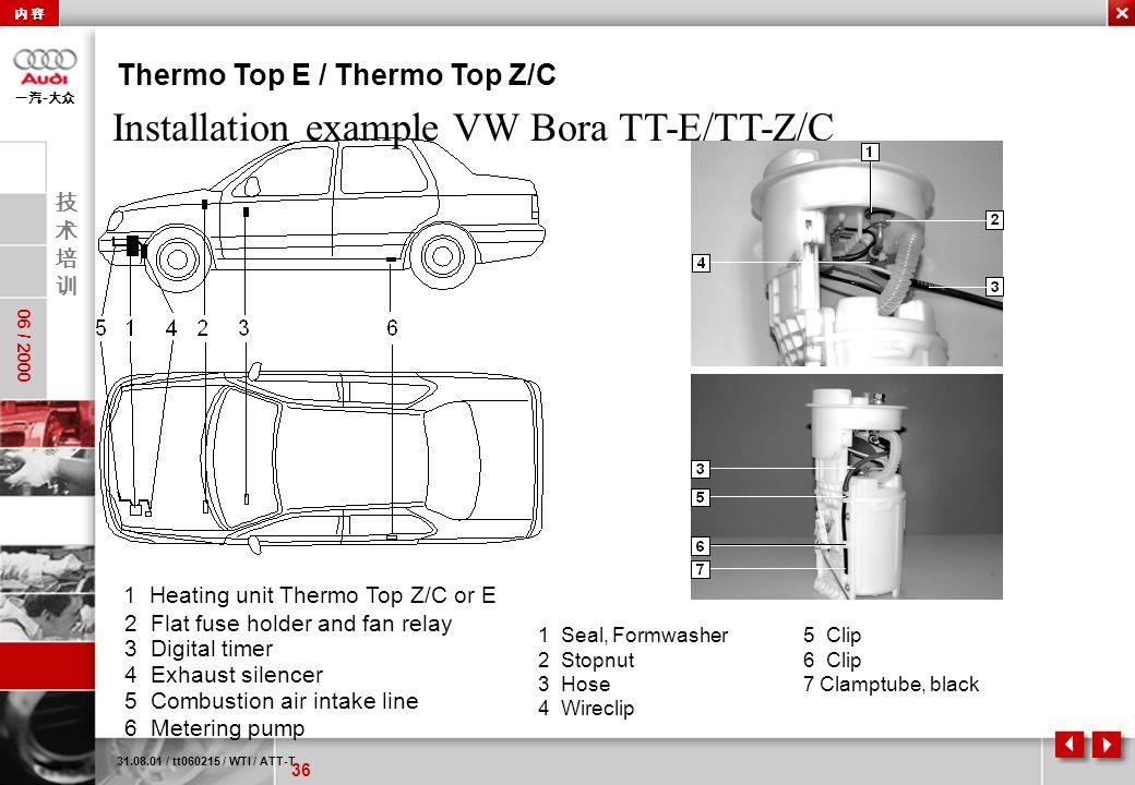 Installation example VW Bora TT-E/TT-Z/C