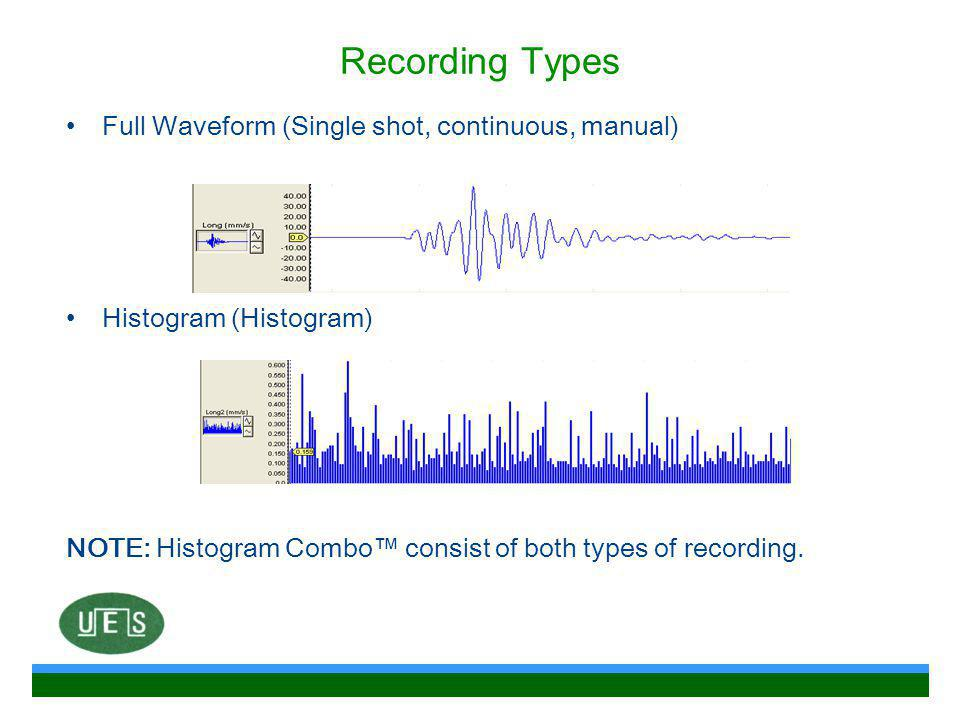 Recording Types Full Waveform (Single shot, continuous, manual)