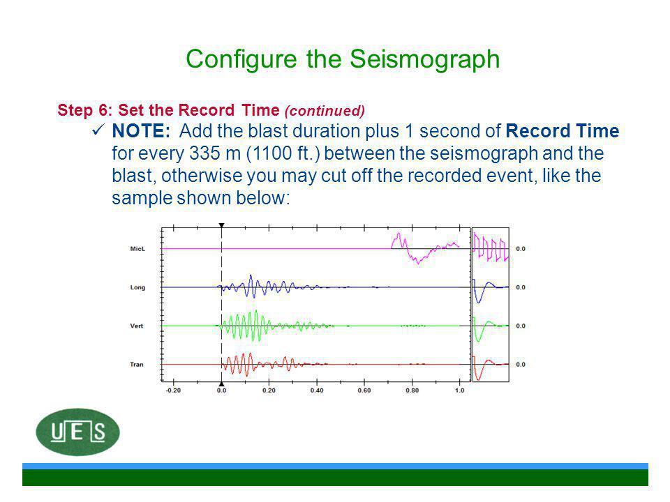 Configure the Seismograph