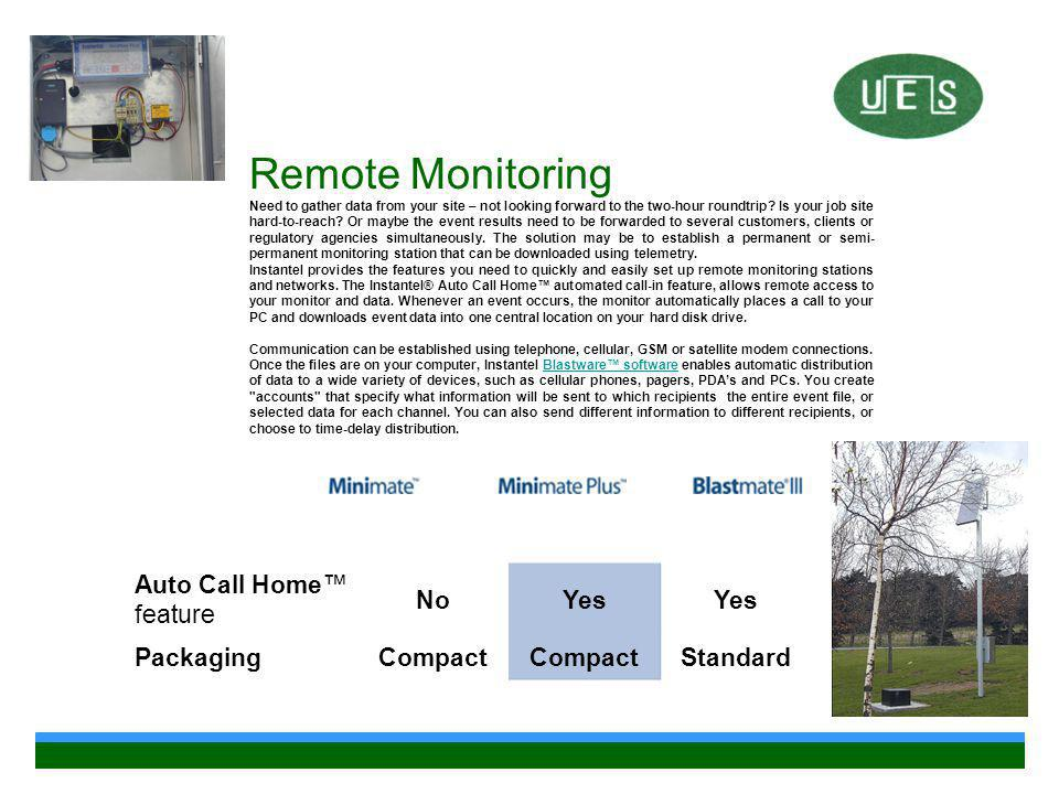 Remote Monitoring Auto Call Home™ feature No Yes Packaging Compact