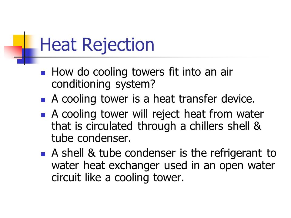 Heat Rejection How do cooling towers fit into an air conditioning system A cooling tower is a heat transfer device.