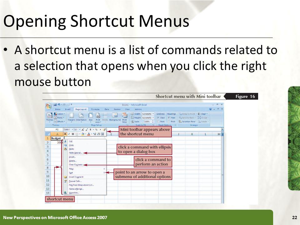 Opening Shortcut Menus