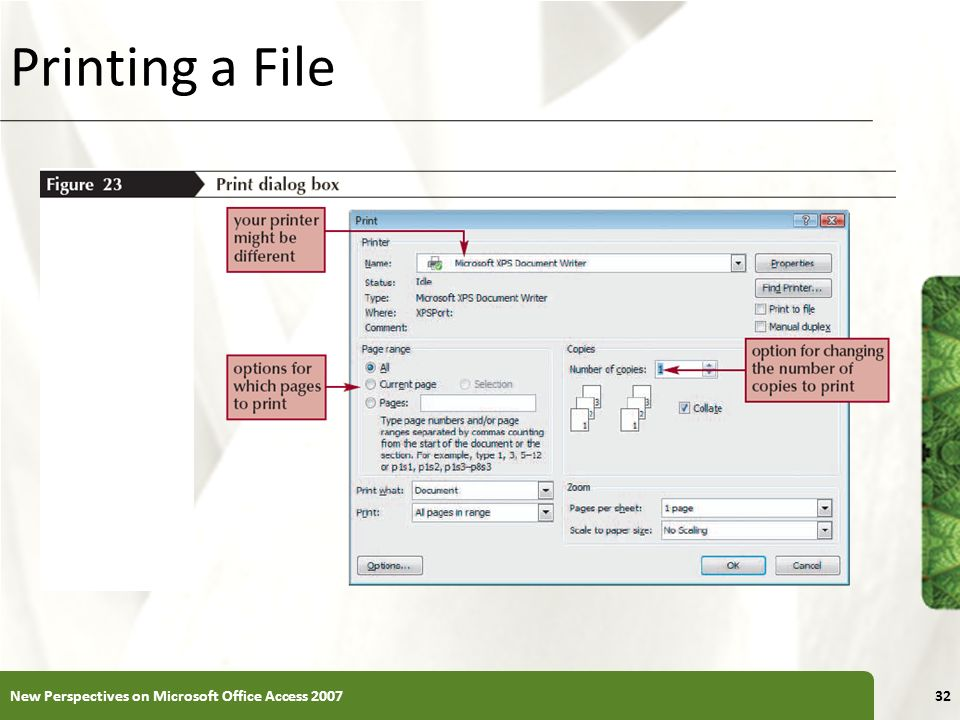 Printing a File New Perspectives on Microsoft Office Access 2007