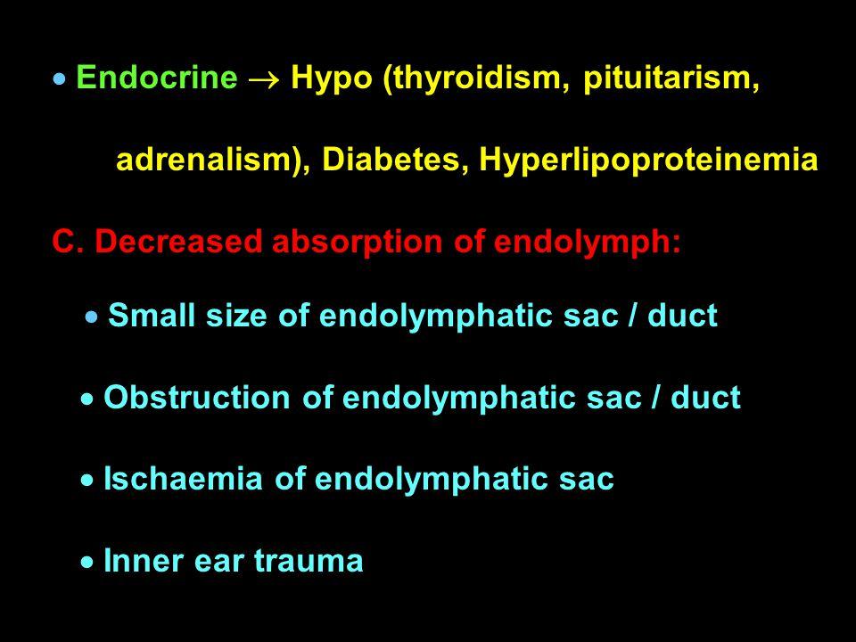  Endocrine  Hypo (thyroidism, pituitarism,