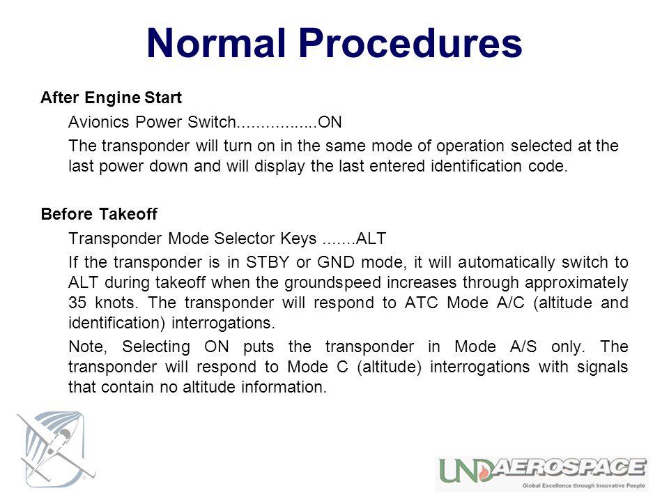 Normal Procedures After Engine Start