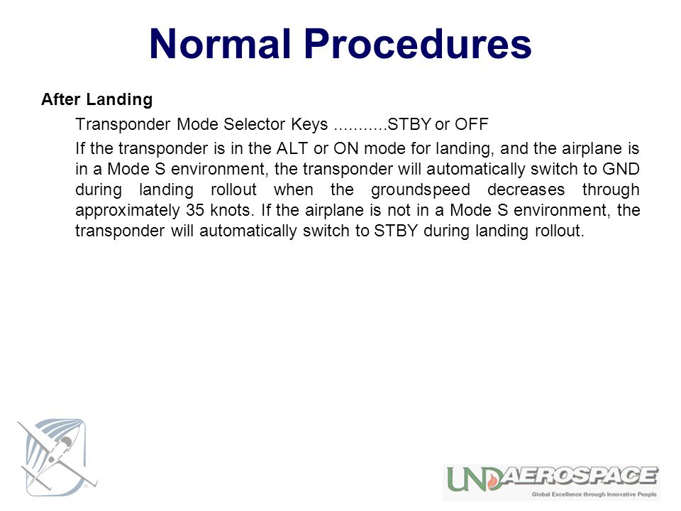 Normal Procedures After Landing
