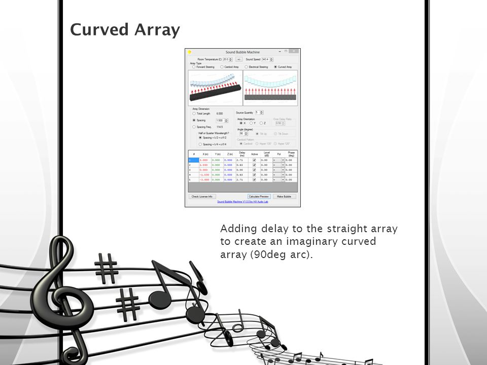 Curved Array Adding delay to the straight array to create an imaginary curved array (90deg arc).