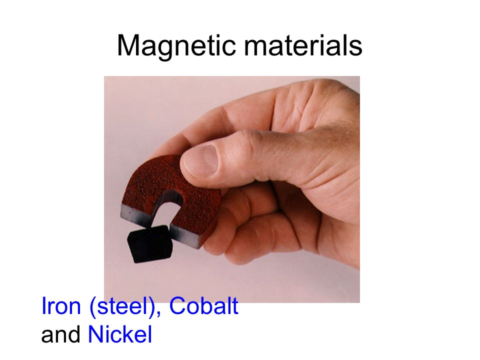Magnetic materials Iron (steel), Cobalt and Nickel