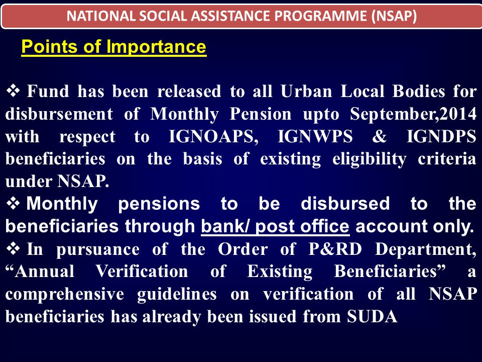 NATIONAL SOCIAL ASSISTANCE PROGRAMME (NSAP)