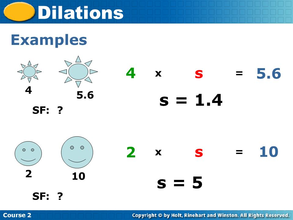 Dilations s = 1.4 s = 5 Examples 4 s 5.6 2 s 10