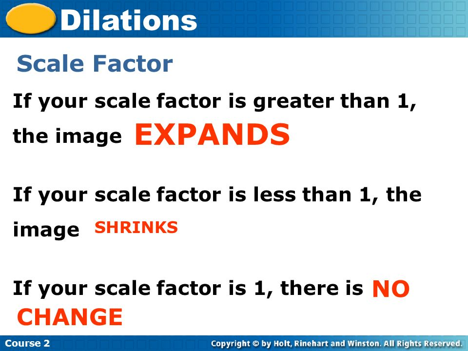 EXPANDS Dilations Scale Factor NO CHANGE