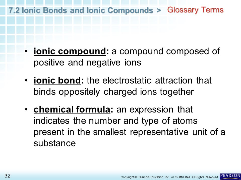 ionic compound: a compound composed of positive and negative ions
