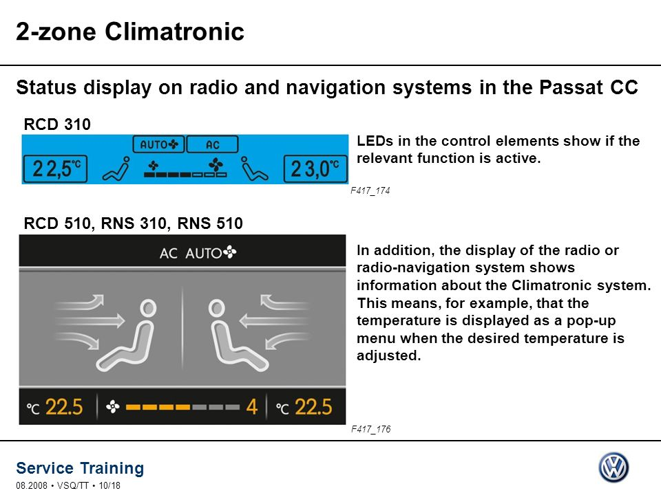 2-zone Climatronic Status display on radio and navigation systems in the Passat CC. RCD 310.