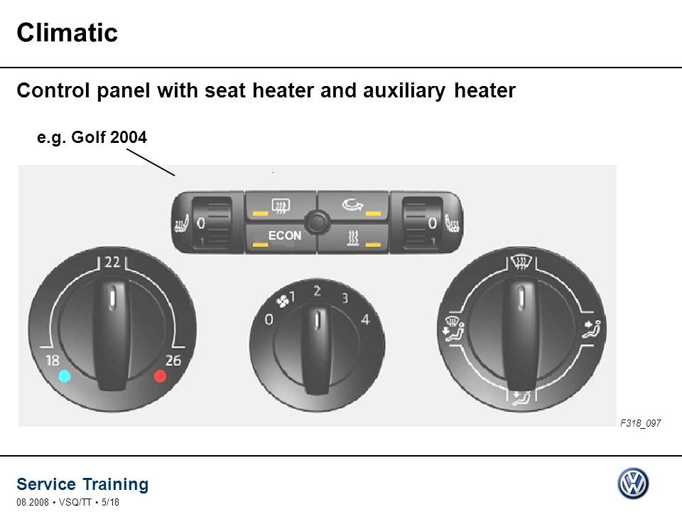 Climatic Control panel with seat heater and auxiliary heater