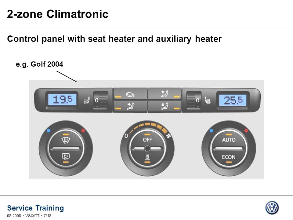 2-zone Climatronic Control panel with seat heater and auxiliary heater