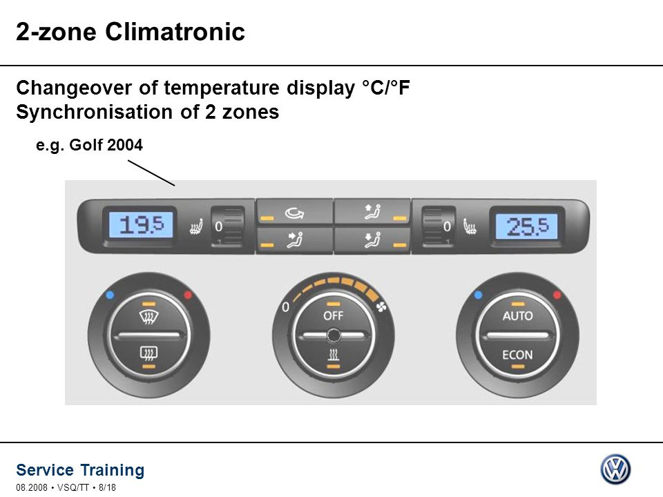 2-zone Climatronic Changeover of temperature display °C/°F Synchronisation of 2 zones. e.g. Golf