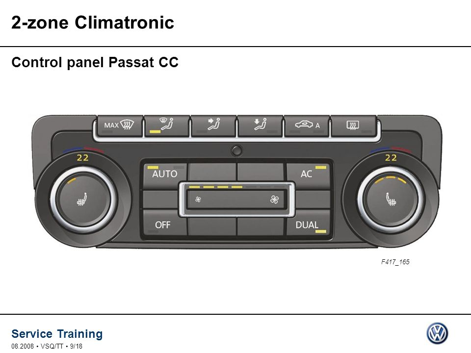 2-zone Climatronic Control panel Passat CC