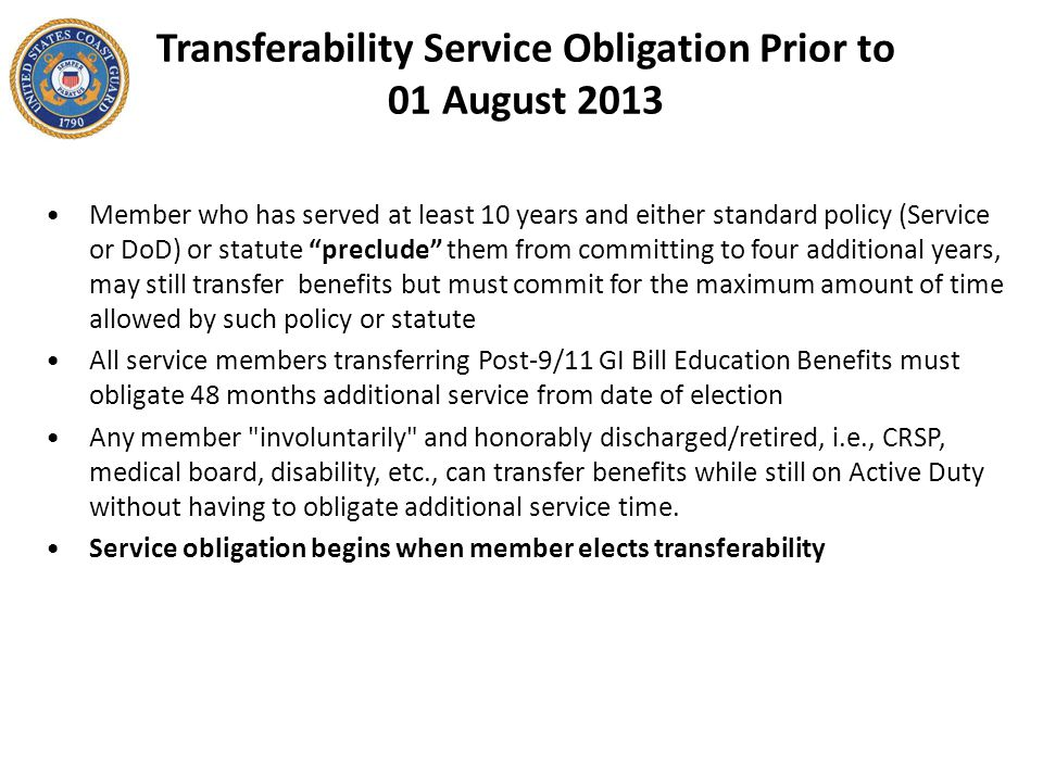 Transferability Service Obligation Prior to 01 August 2013