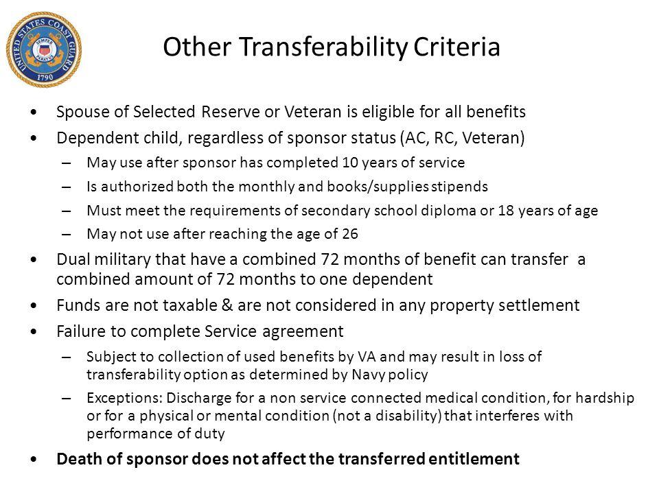 Other Transferability Criteria