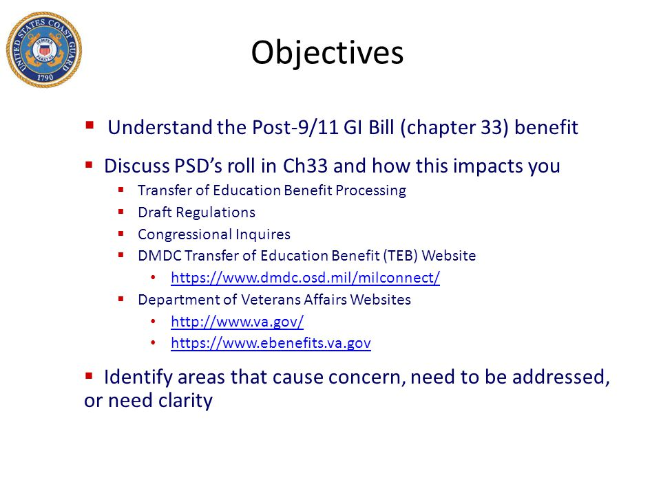 Objectives Understand the Post-9/11 GI Bill (chapter 33) benefit