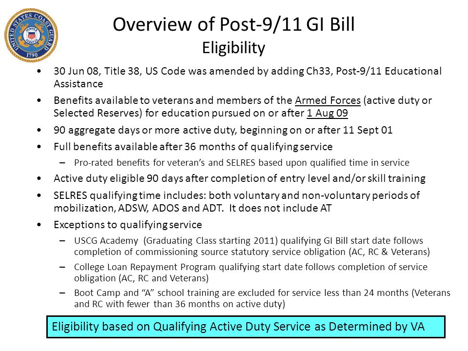 Overview of Post-9/11 GI Bill Eligibility