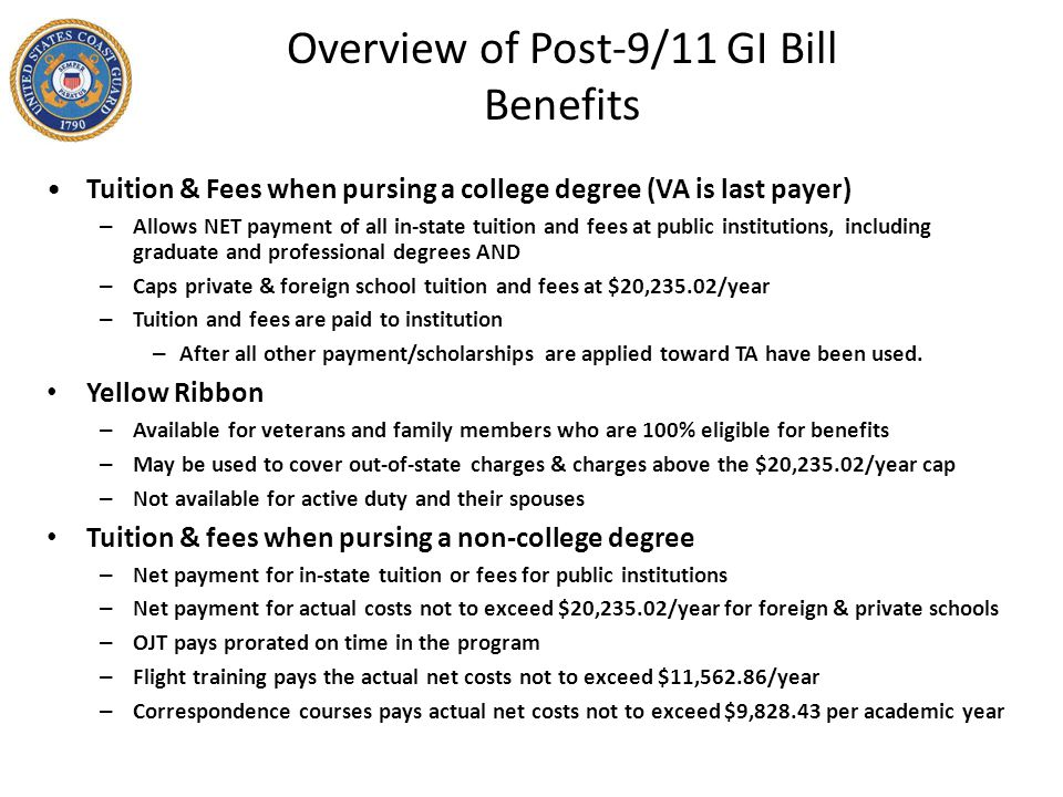 Overview of Post-9/11 GI Bill Benefits