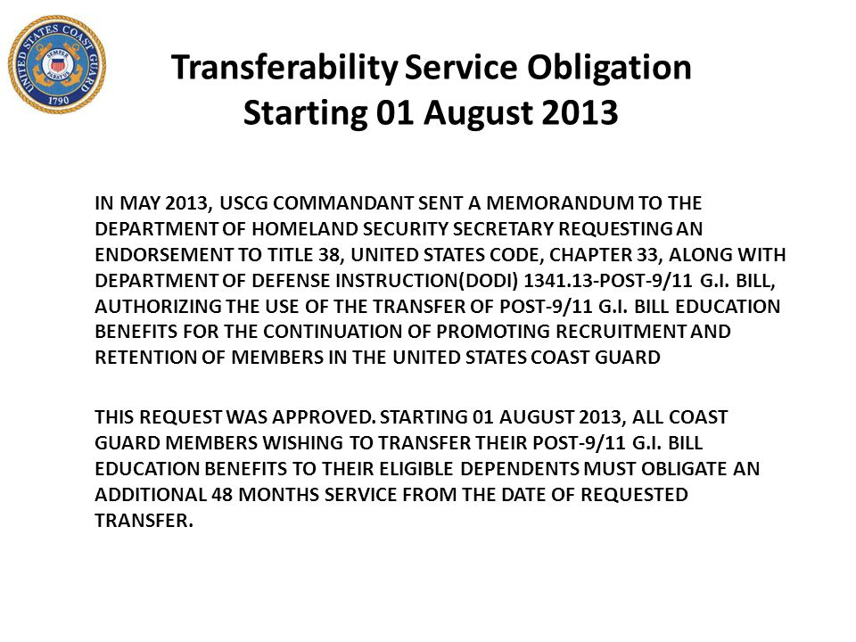 Transferability Service Obligation Starting 01 August 2013