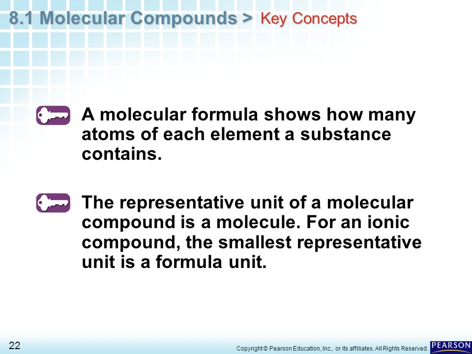Key Concepts A molecular formula shows how many atoms of each element a substance contains.