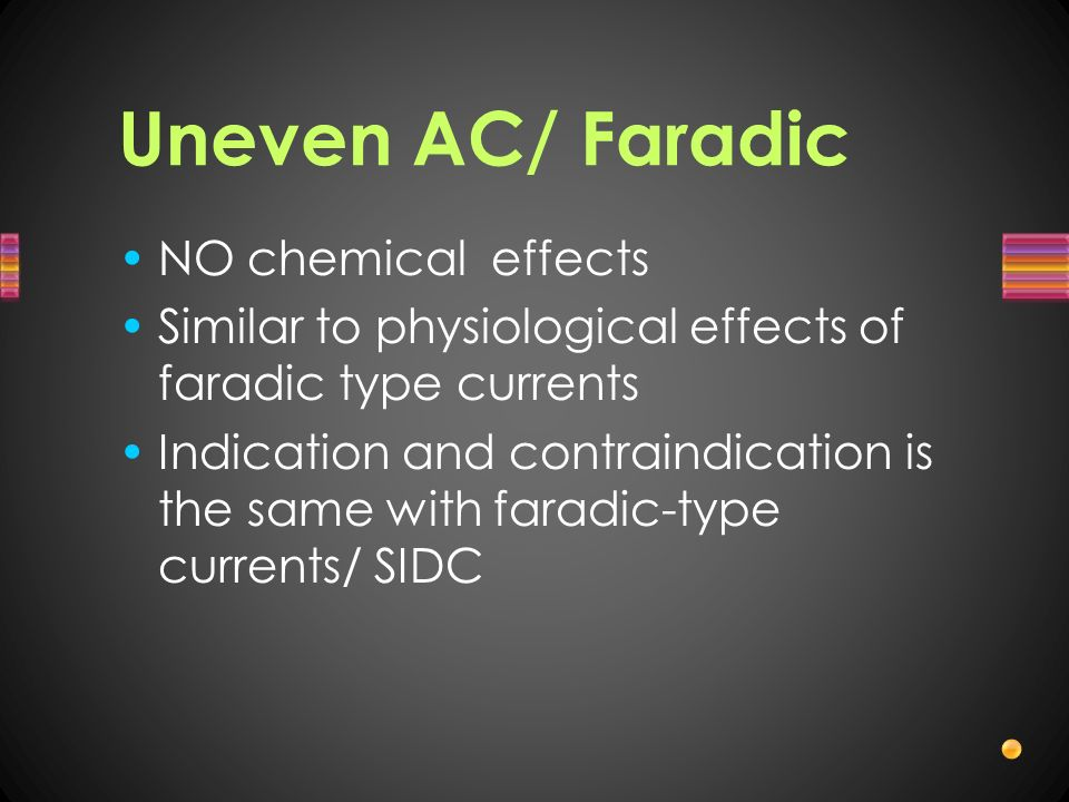 Uneven AC/ Faradic NO chemical effects