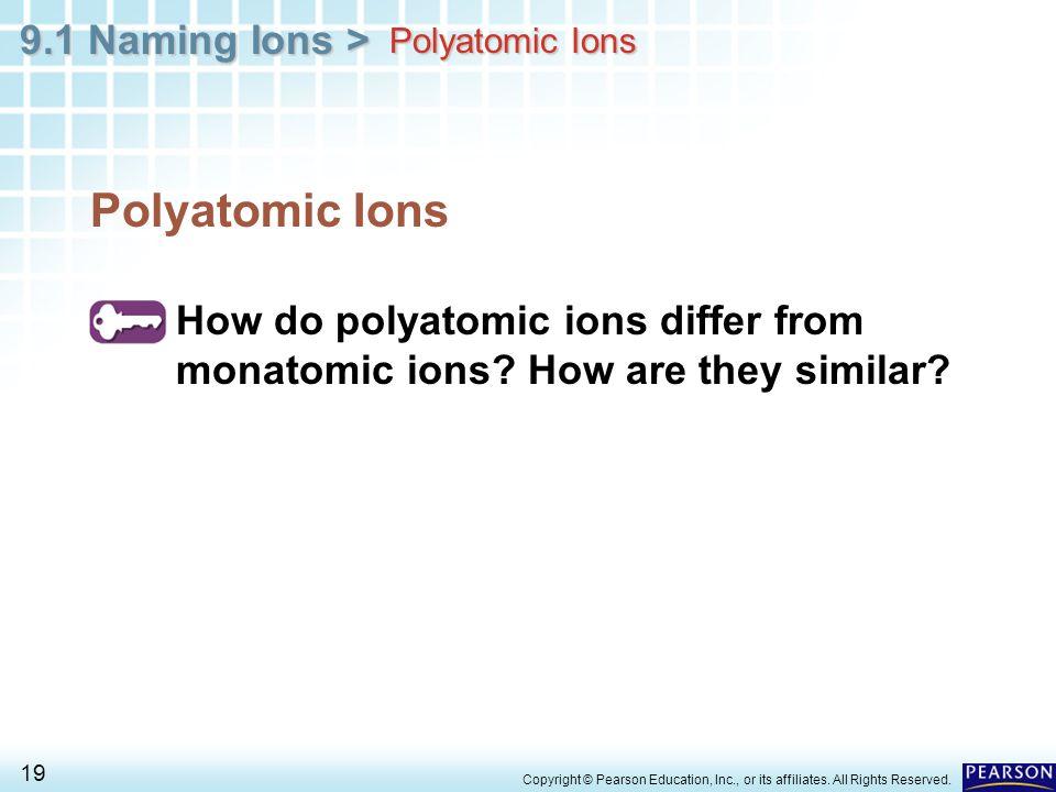 Polyatomic Ions Polyatomic Ions. How do polyatomic ions differ from monatomic ions How are they similar