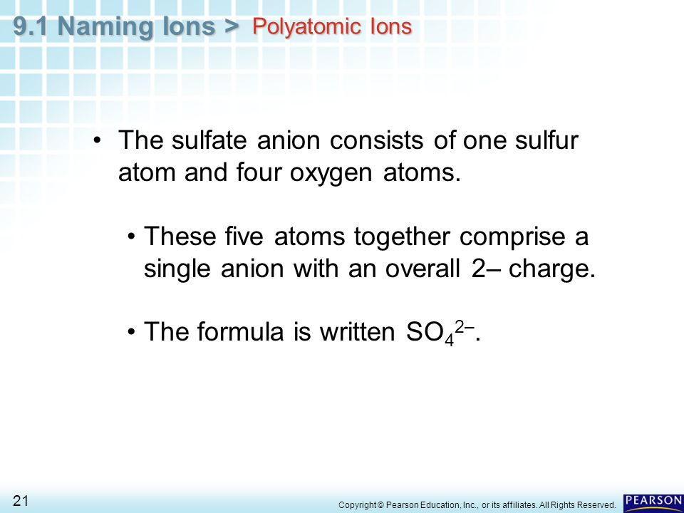 The sulfate anion consists of one sulfur atom and four oxygen atoms.