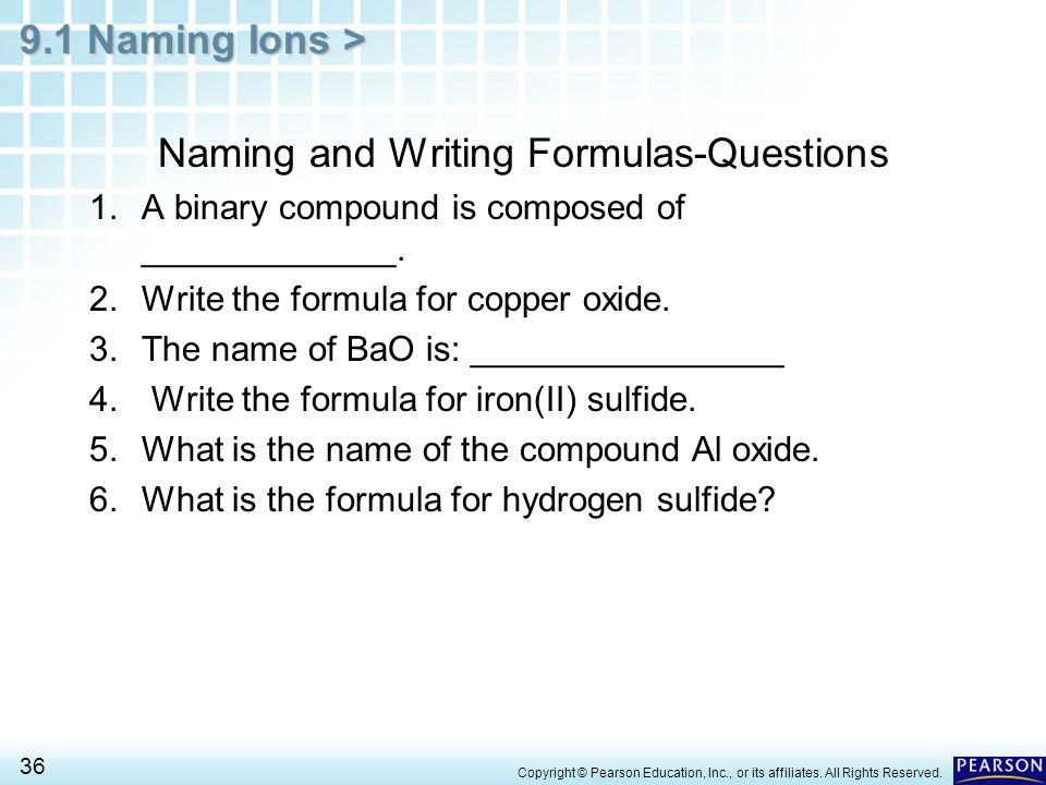 Naming and Writing Formulas-Questions