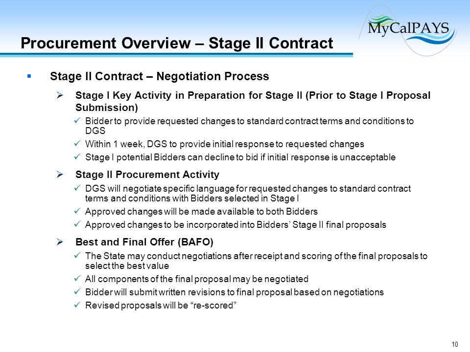 Procurement Overview – Stage II Contract