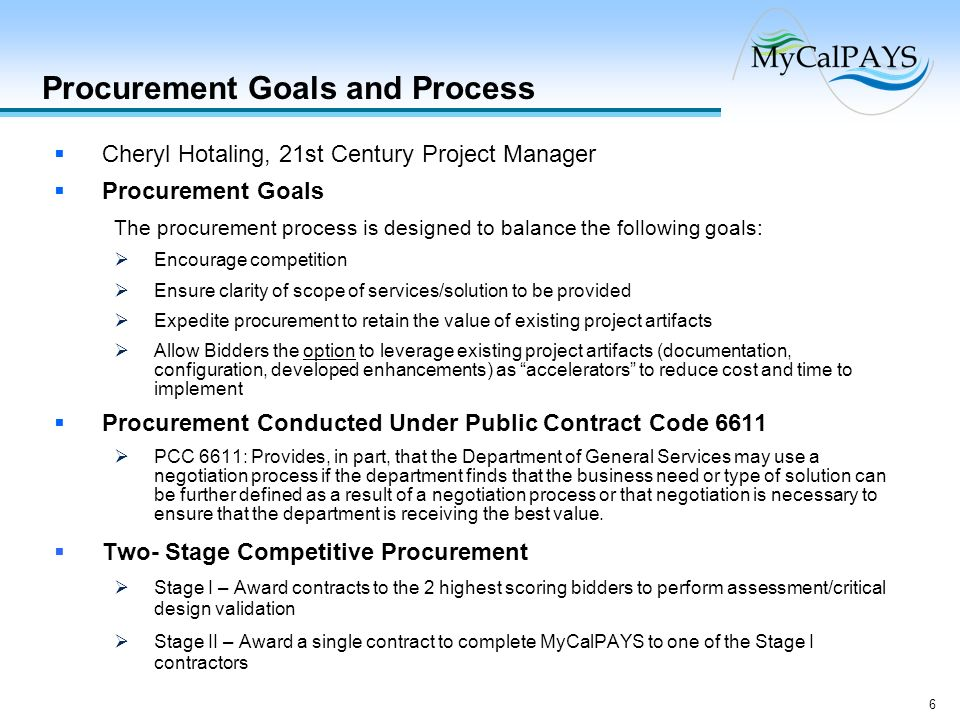Procurement Goals and Process