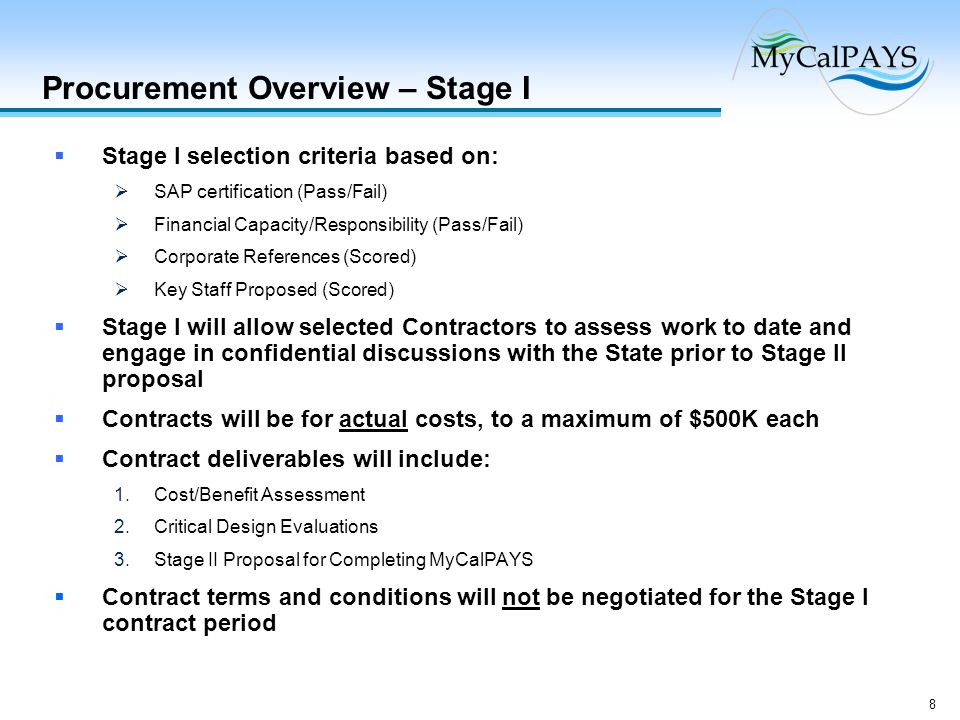 Procurement Overview – Stage I