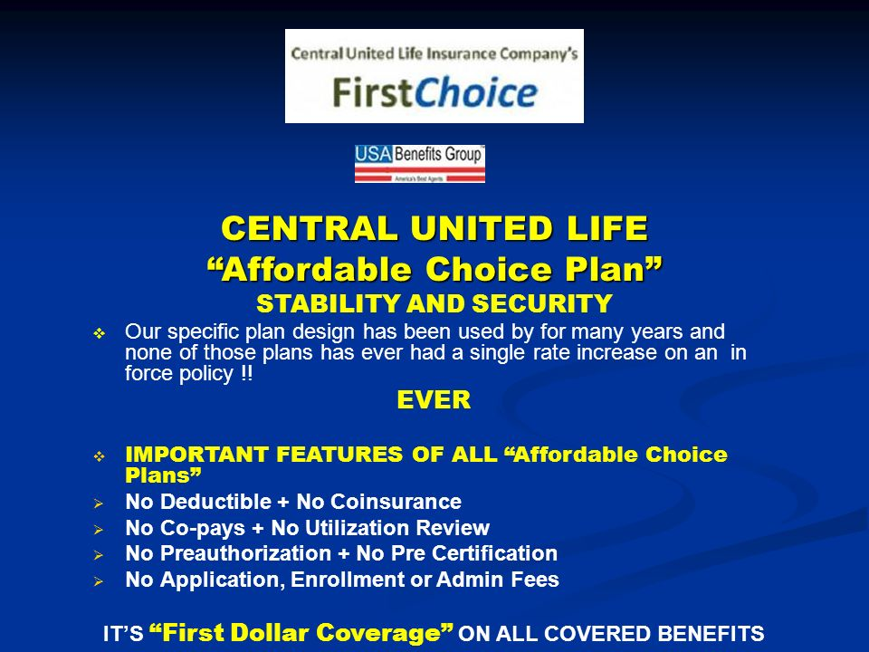 CENTRAL UNITED LIFE Affordable Choice Plan